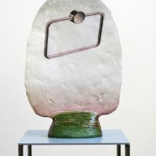Bonus 13, 2019 Céramique émaillée, transfert, 34 x 47 x 2-10 cm